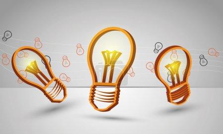 Illustration pour Conception abstraite de trois ampoules dorées pour texture et échantillon textile, modèle, impression, fond de présentation, livret, campagne de marketing sur fond gris - image libre de droit