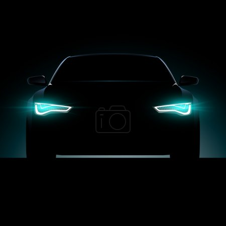 Illustration for Car silhouette on black background with lights on - Royalty Free Image