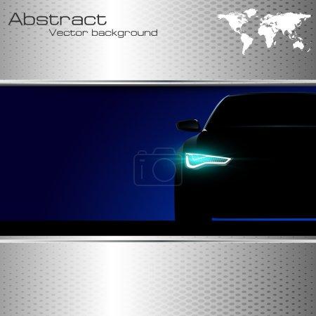 Illustration pour Silhouette de voiture avec des lumières sur et sur fond abstrait avec la Terre, icône globe - image libre de droit