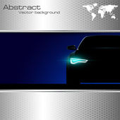 Car silhouette with lights on and abstract background