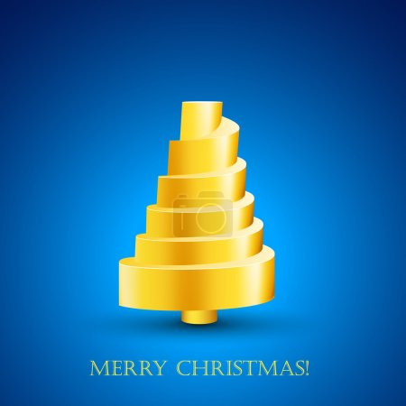 Design of abstract golden New Year tree with Merry...