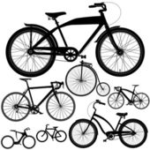 Set of different bicycles bikes