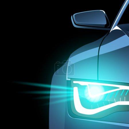 Illustration pour Silhouette abstraite de lumière avant de voiture de sport et miroir latéral sur fond noir - image libre de droit