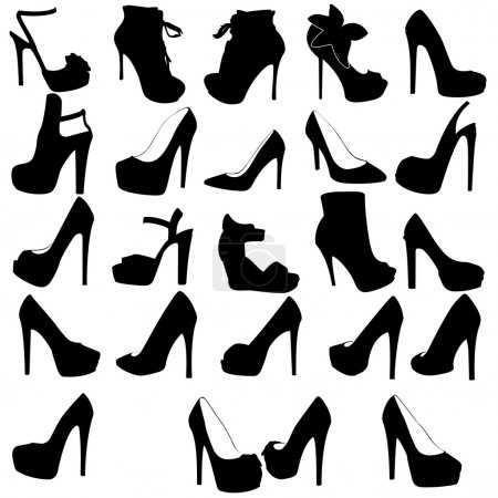 Set of silhouettes of women shoes with high heels
