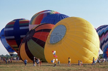 SOLBERG AIRPORT-READINGTON, NEW JERSEY,USA-JULY 17: Pictured are some of the many hot air balloons that flew at the 1987 New Jersey Festival of Hot Air Ballooning.