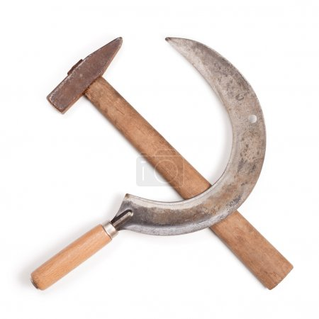 Hammer and sickle isolated on white background. Wi...
