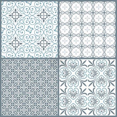 Illustration for Set of four vintage decorative symmetric seamless patterns. Vector - Royalty Free Image