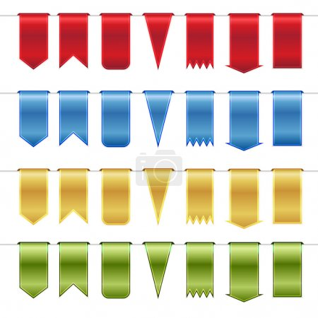 Set of red, blue, gold and green glossy ribbons