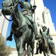 Details of the monument to Cervantes with Don Quix...