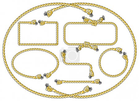 Illustration for Vector illustration of a collection of several rope frames - Royalty Free Image