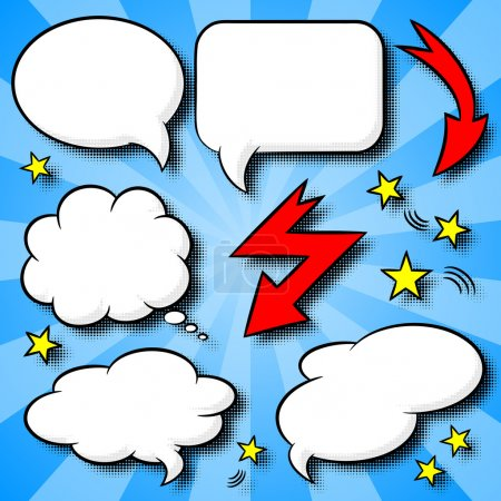 Illustration for Vector illustration of a collection of comic style speech bubbles - Royalty Free Image