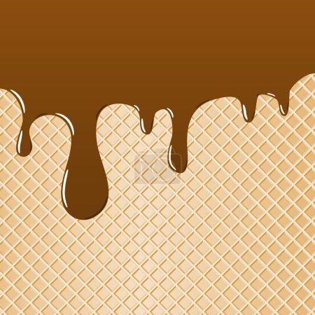 Illustration pour Illustration vectorielle d'une gaufre garnie de chocolat comme fond - image libre de droit