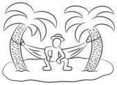 Vector illustration of a man in a hammock on a small lonely island