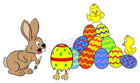 easter bunny finds a running easter egg