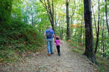 Photo pour Père et fille marchant dans la forêt en automne - image libre de droit