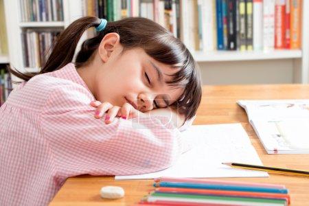 School girl sleeping