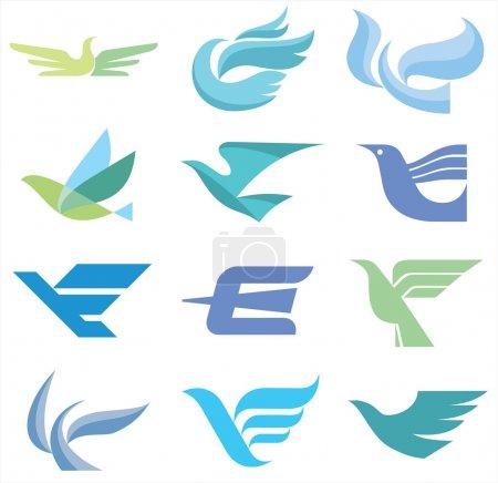 Illustration pour 12 images d'oiseaux dans un style classique symbolique. solution graphique expressif pour l'élaboration de votre conception et produits promotionnels. - image libre de droit