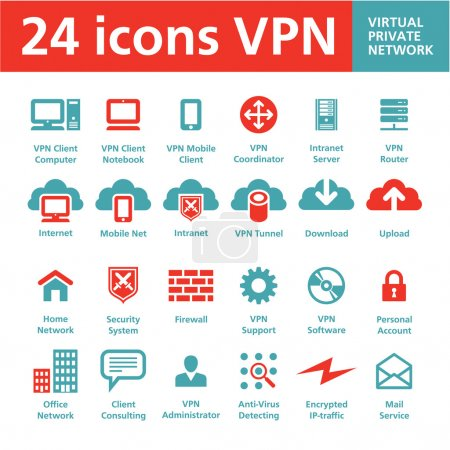 Vector 24 Icons VPN (Virtual Private Network)