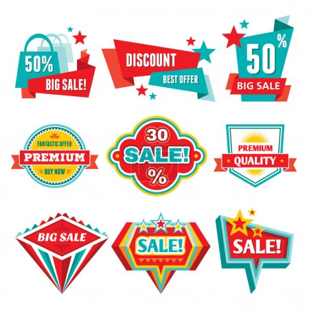 Sale & Discount Badges - Abstract Vector Signs