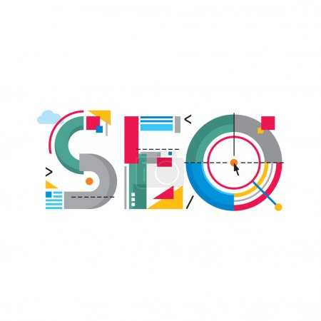 Illustration pour SEO - search engine optimization - word logo sign. Original creative concept illustration. - image libre de droit