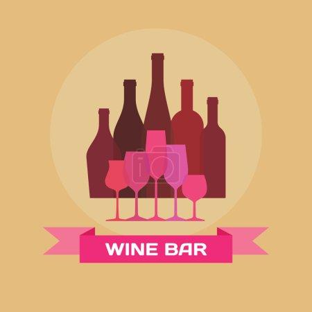 Illustration pour Bouteilles de vin et verres - Illustration pour des projets de design créatif . - image libre de droit