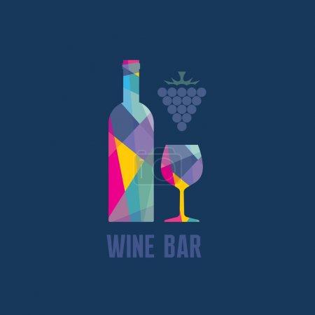 Illustration pour Bouteille de vin et verre - Illustration abstraite pour des projets de design créatif . - image libre de droit