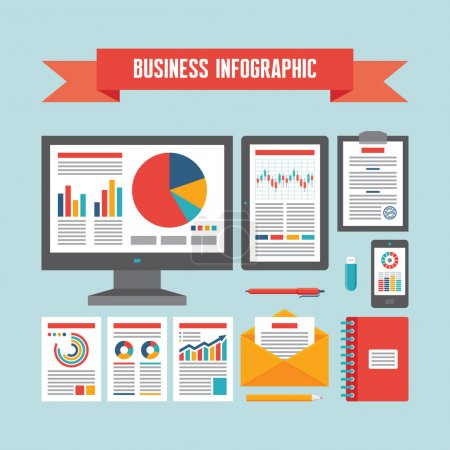 Business Infographic Documents - Vector Concept Illustration in Flat Design Style