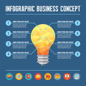 Infographic Business Concept - Creative Idea Illustration - vector yellow lamp in geometric polygonal style