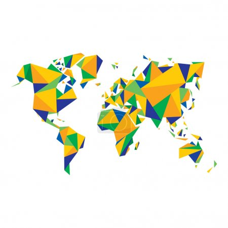 Abstract World Map - Vector illustration - Geometric Structure in color of Brazil flag.
