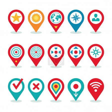 Illustration for Modern World Application - Location Icons Collection - Navigation Symbols for Creative Design and Business Project. Global position location vector icons set. - Royalty Free Image
