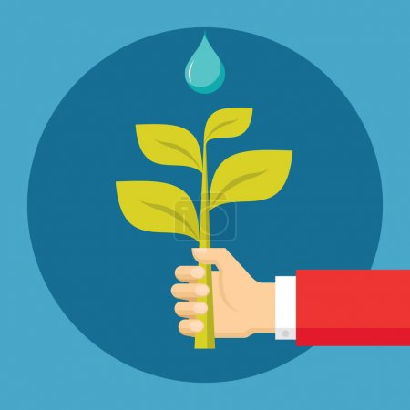 Human Hand with Sprout and Drop - Ecological Nature Illustration in Flat Design Style