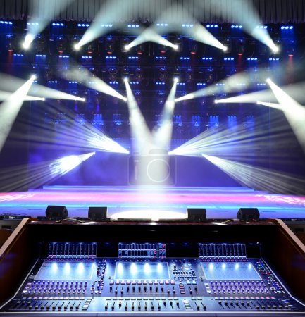 Photo for Working sound panel on the background of the concert stage - Royalty Free Image
