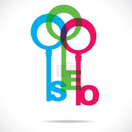 SEO word with colorful keys