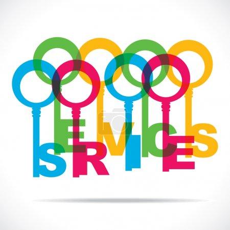 Illustration pour Mot de services avec vector stock keys colorée - image libre de droit