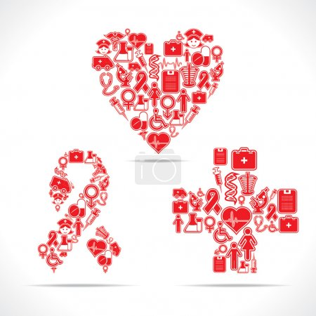 Illustration for Medical icons make a heart and aids shape stock vector - Royalty Free Image
