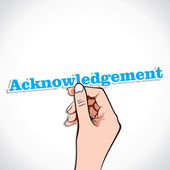 Acknowledgement word in hand