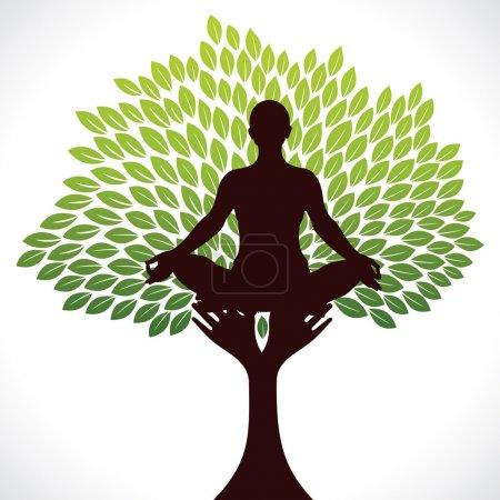Illustration pour Yoga fille sur vert arbre stock vecteur - image libre de droit