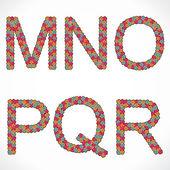 flower alphabet MNOPQ and R