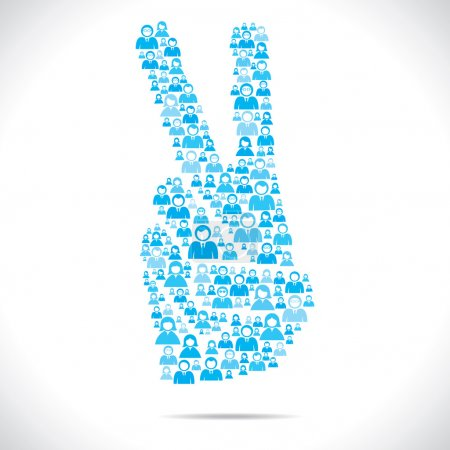 Group of make victory hand sign