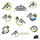 Set of houses icons for real estate business on white background With natural elements