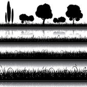 Set of nature background with grass bushes and trees silhouett