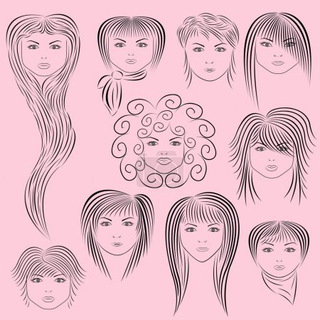 Female Hairstyles Vector Illustration