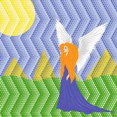 Woman angel on mosaic background