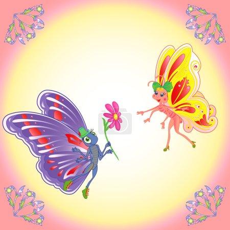 Illustration pour Papillons de dessin animé colorés paire en vol romantique sur un fond clair. Illustration vectorielle de dessin manuel - image libre de droit