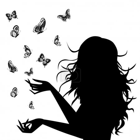 Woman silhouette with butterflies around her