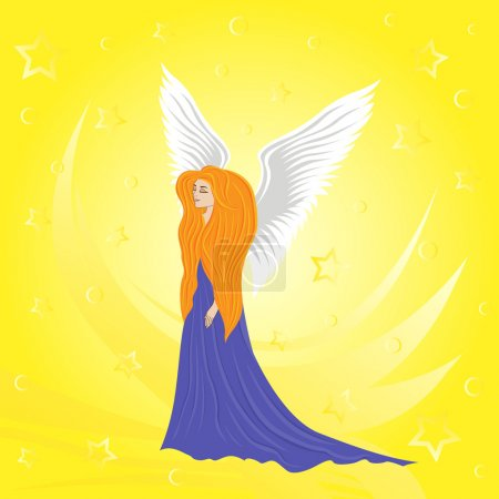 Woman angel on abstract yellow background. Hand dr...