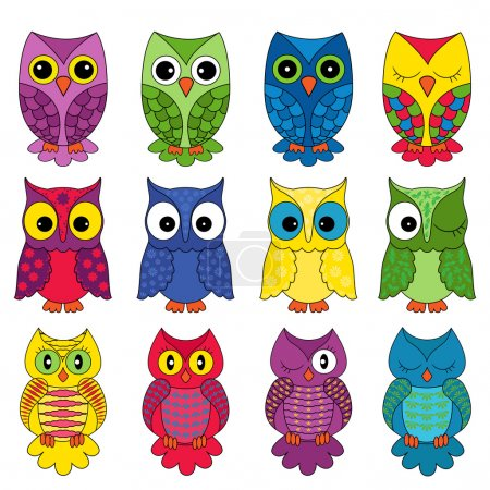 Set of twelve owls