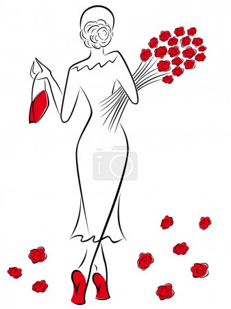 Graceful lady in a long dress with a bouquet of re...