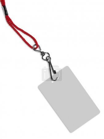 Photo pour Carte d'identité ou badge vierge avec espace de copie, isolé sur blanc. Contient le chemin de coupure de la carte (sans collier) pour changer la couleur de la carte . - image libre de droit