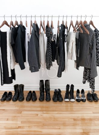 Black and white female clothes and shoes